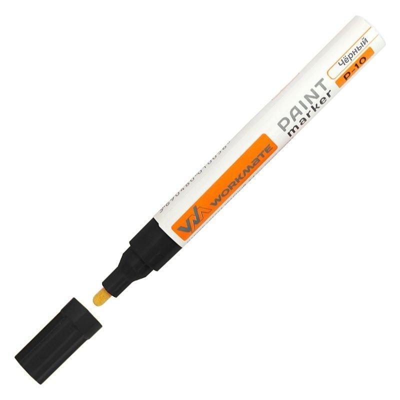 Маркер-краска лаковый Workmate 2-4мм пулевидный наконечник нитро-основа черная