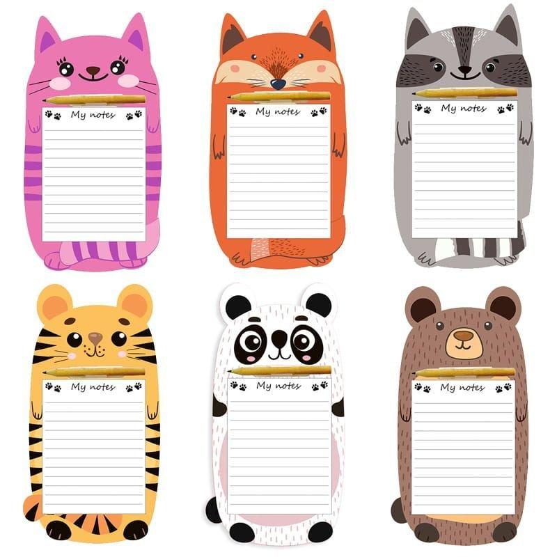 Блок для записей декоративный на склейке Милые животные 9*17см с карандашом 6 дизайнов