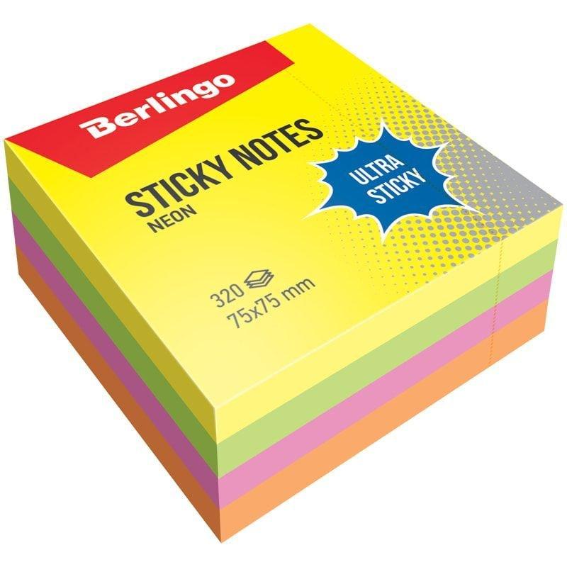 Блок для записей самоклеящийся 75х75мм Berlingo 320л неон 4 цвета
