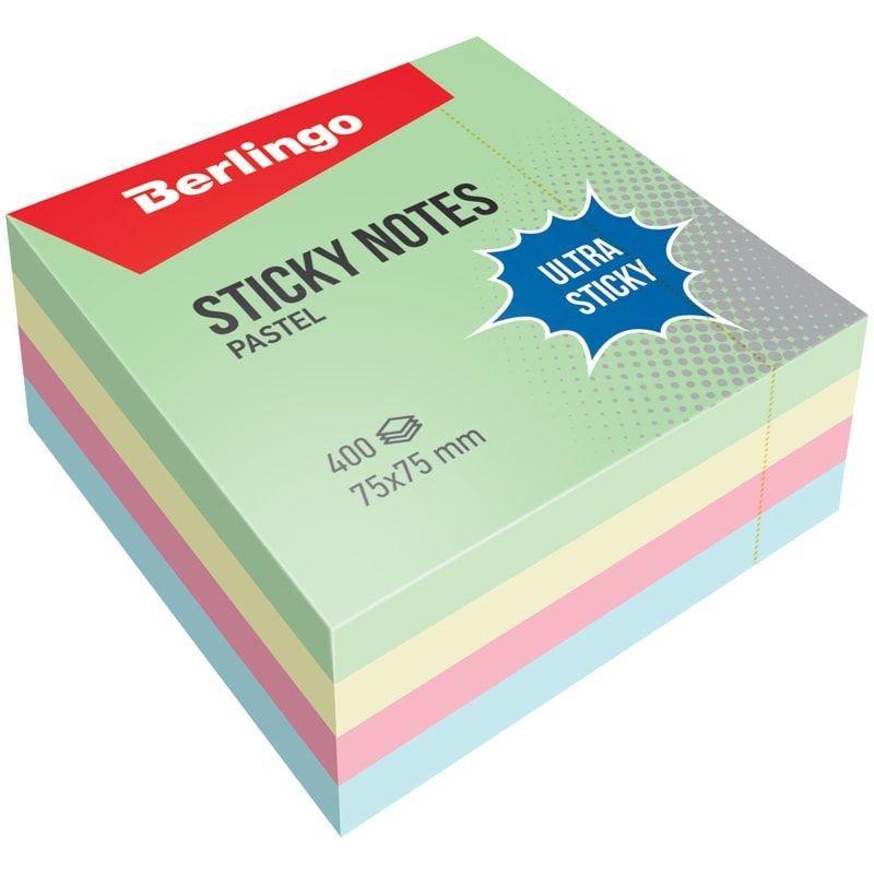 Блок для записей самоклеящийся 75х75мм Berlingo 400л пастель 4 цвета