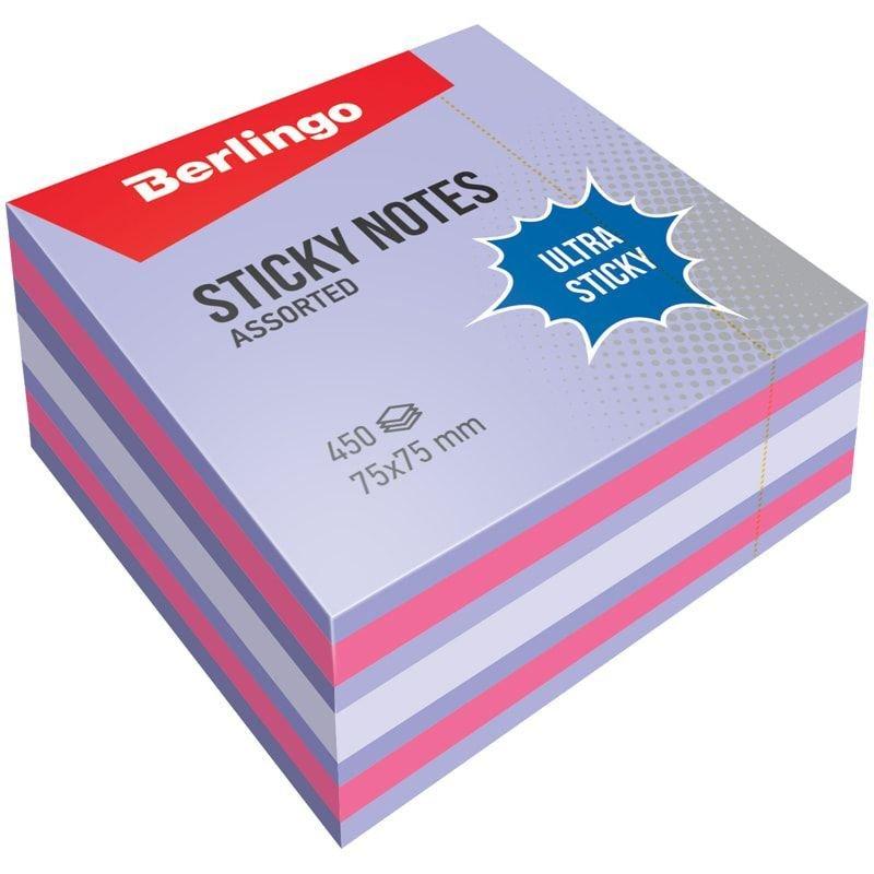 Блок для записей самоклеящийся 75х75мм Berlingo 450л пастель 3 цвета