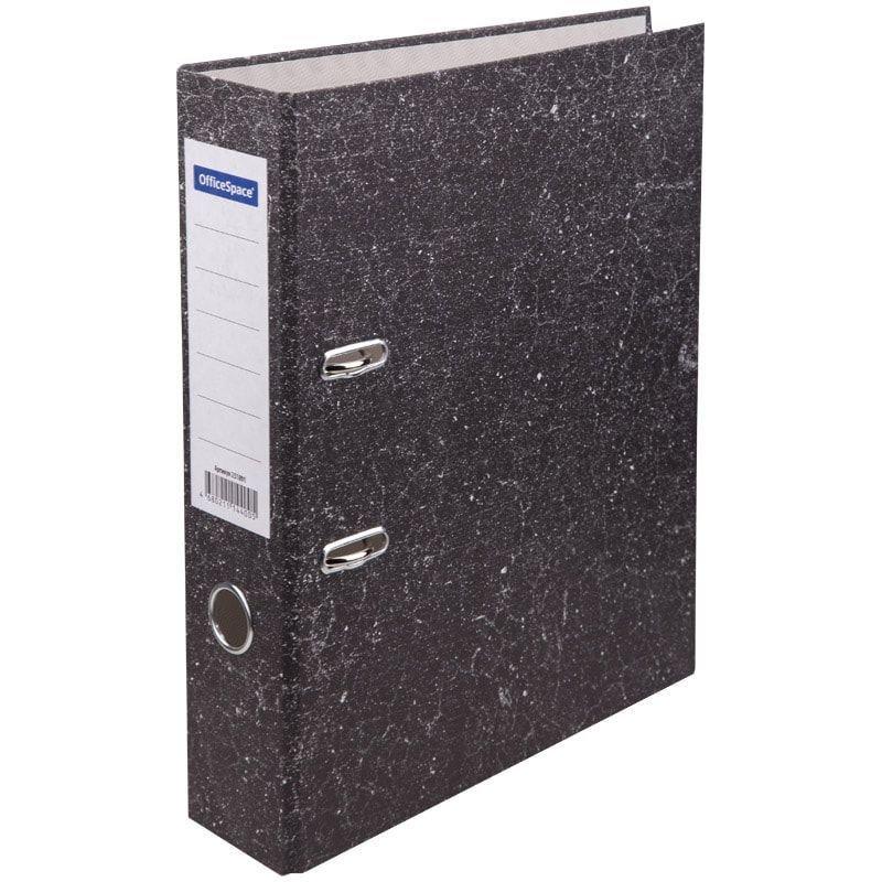 Папка-регистратор 70мм OfficeSpace Бюджет мрамор черная