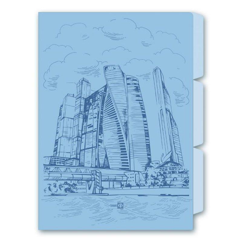 Папка-угол для документов 220х310мм Город 3 отделеения
