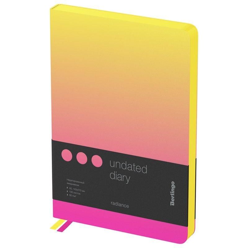 Ежедневник А5 недат Berlingo Radiance желтый/розовый  градиент