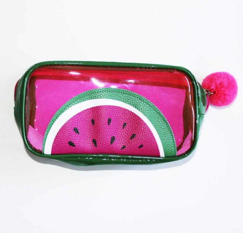 Пенал-косметичка Арбуз зеленый и розовый ПВХ лак силикон с помпоном