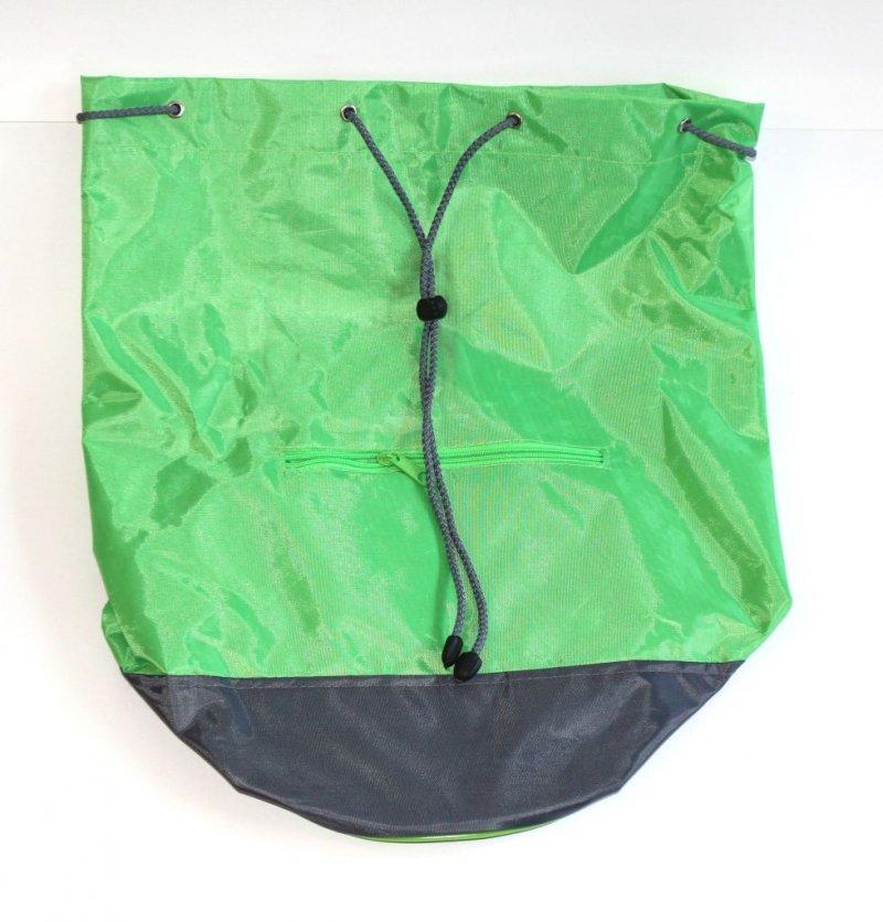 Сумка-мешок с круглым дном Зеленая серое дно с ремнем
