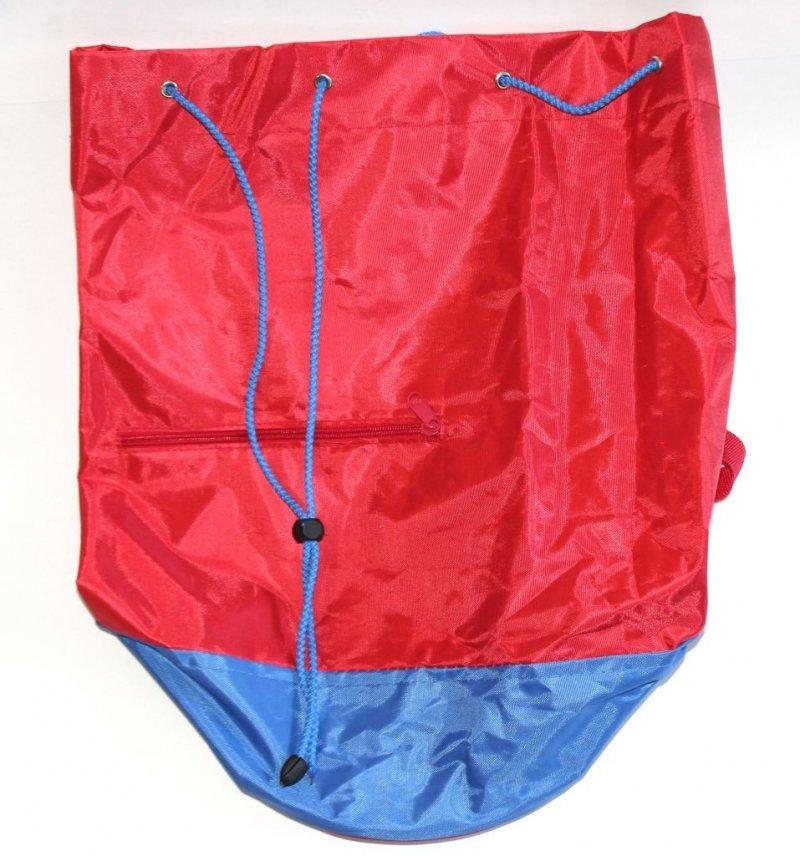 Сумка-мешок с круглым дном Красная синее дно с ремнем