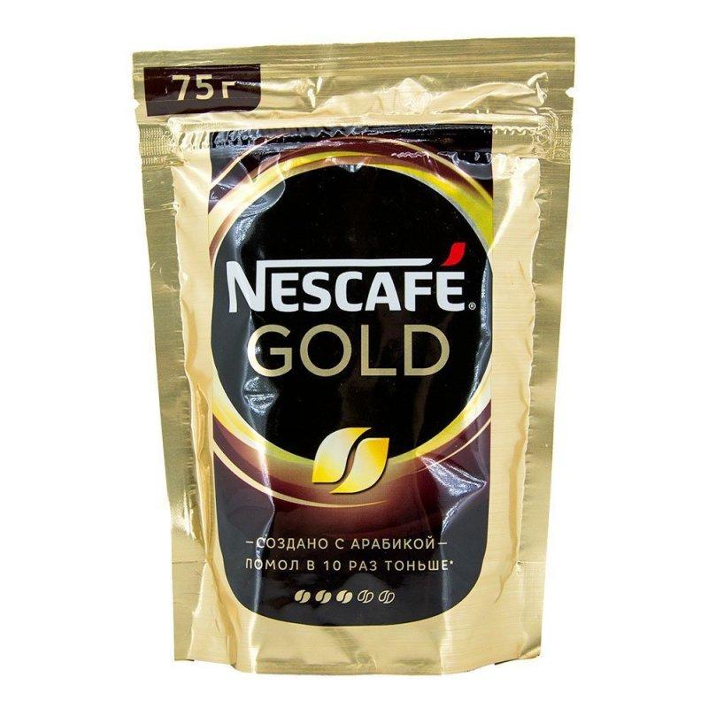 Кофе Nescafe Gold растворимый 75г мягкая упаковка