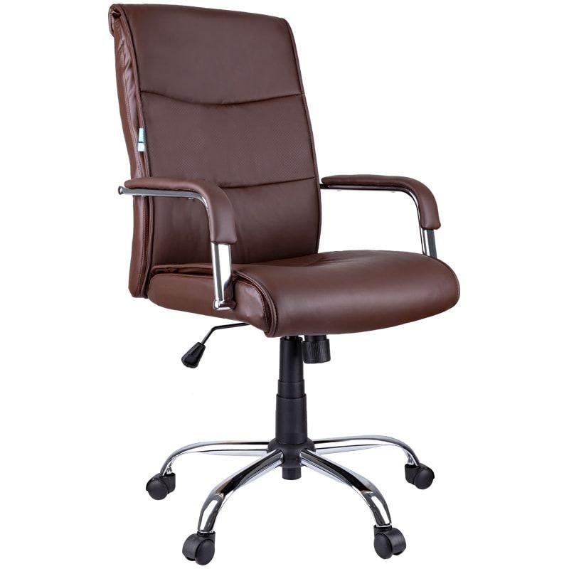 Кресло руководителя Helmi HL-E03 Accept с подлокотниками экокожа коричневое