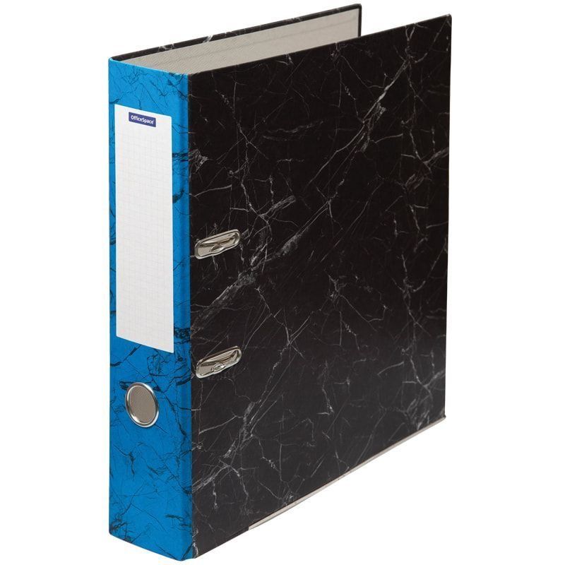 Папка-регистратор 70мм OfficeSpace мрамор  уголок синий корешок