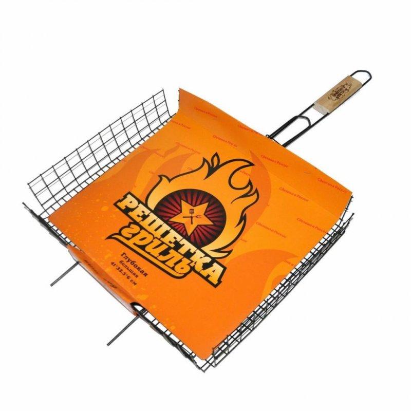 Решетка гриль универсальная средняя 360х260х18мм ручка береза