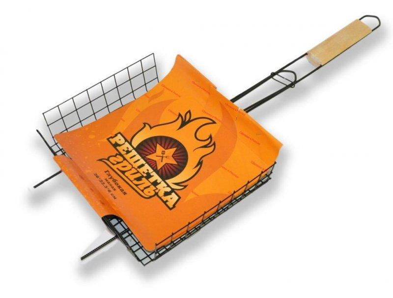 Решетка гриль средняя глубокая 360х285х60мм ручка береза