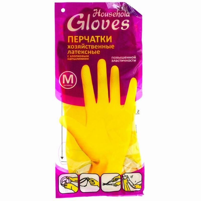 Перчатки латексные Household Gloves M желтые 1 пара