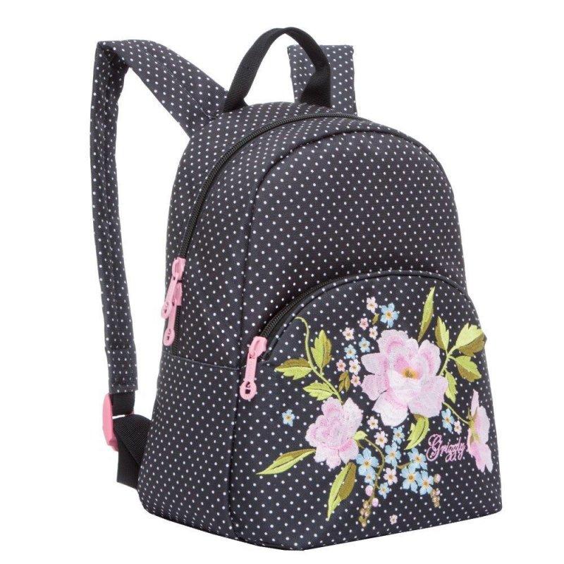 Рюкзак школьный Grizzly 1 отделение 1 карман черные горохи