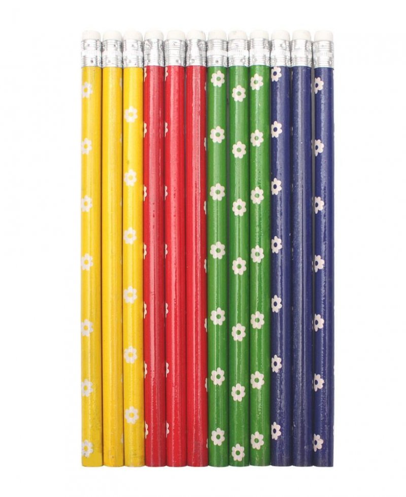 Карандаш простой Legend 4 цвета микс цветочки с ластиком