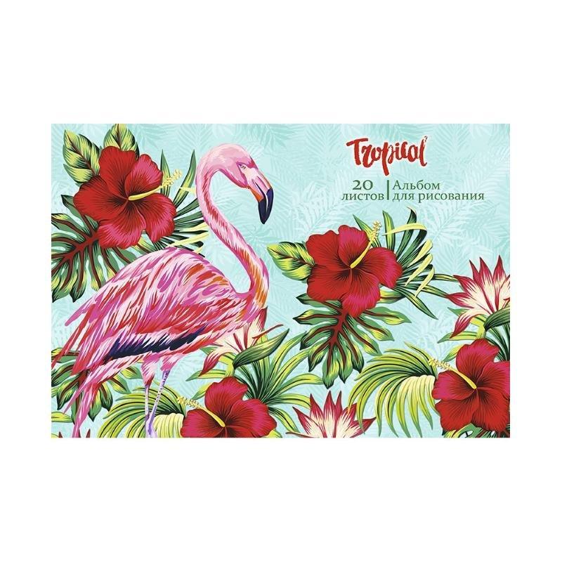 Альбом для рисования 20л Profit Фламинго с цветами 2