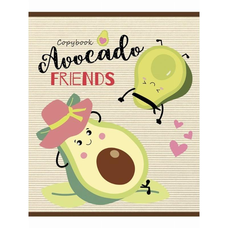 Тетрадь 48л Веселые авокадо клетка
