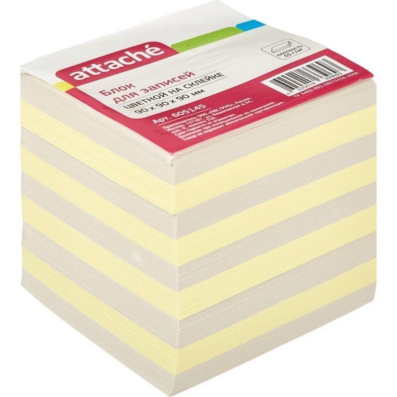 Блок для записей 90х90х90мм Attache цветной проклеенный 1000л