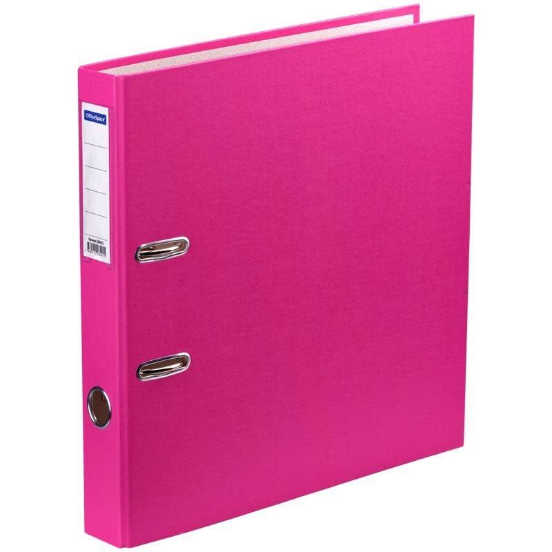 Папка-регистратор 50мм OfficeSpace бумвинил карман розовая