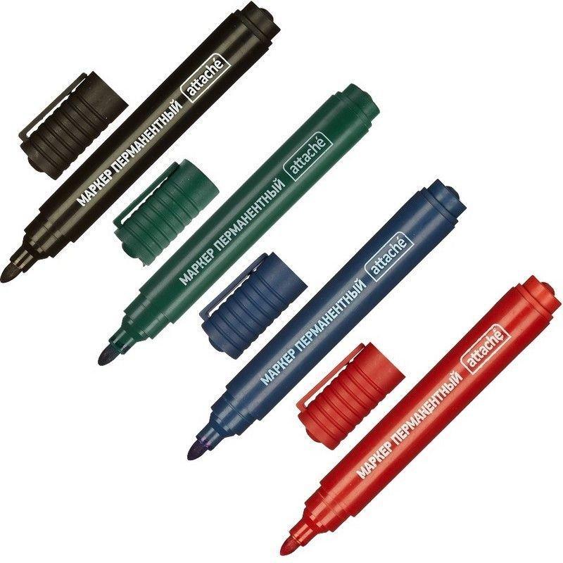 Набор маркеров перманентных Attache 4цв 3мм