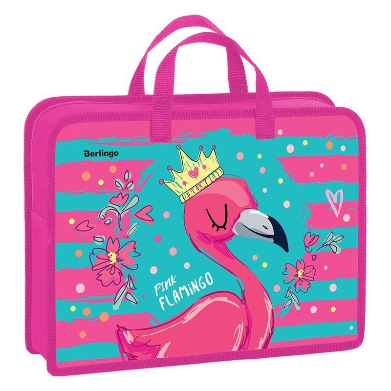 Папка А4 1 отд на молнии Flamingo style пластик