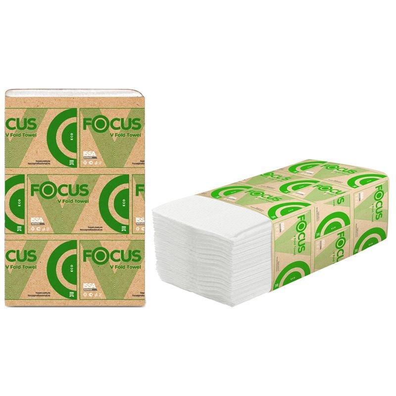 Полотенце бумажное Focus Eco 1-сл V-слож 230х205мм 200л белое