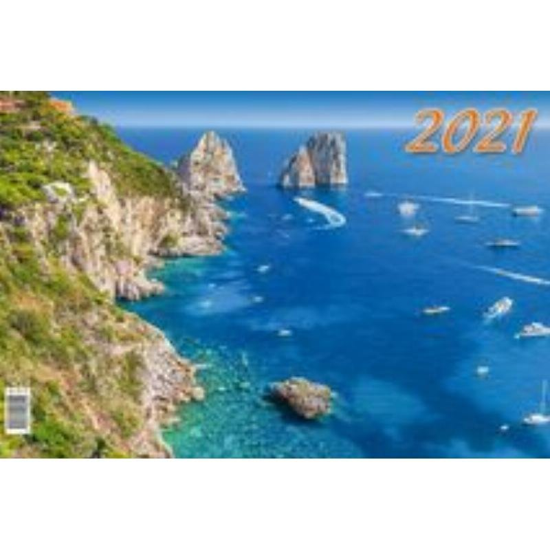 Календарь настенный 2021г 3-х блочный квартальный Голубая яхта