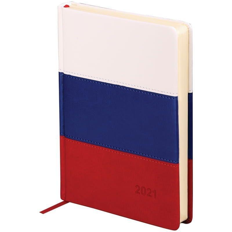 Ежедневник датированный A5 2021г OfficeSpace Flag 176л кожзам триколор