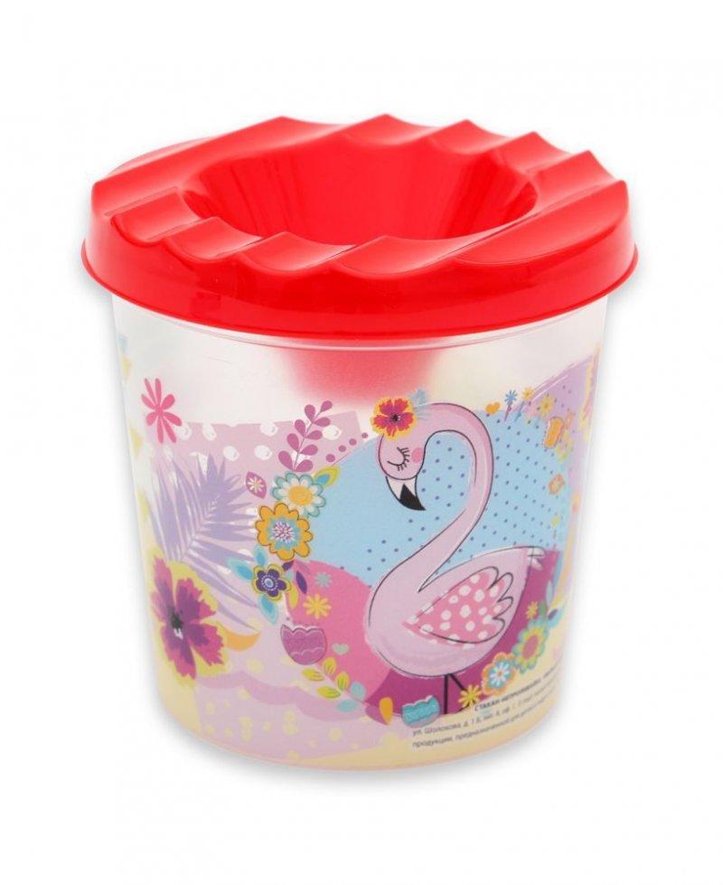 Стакан непроливайка Милый фламинго одинарный
