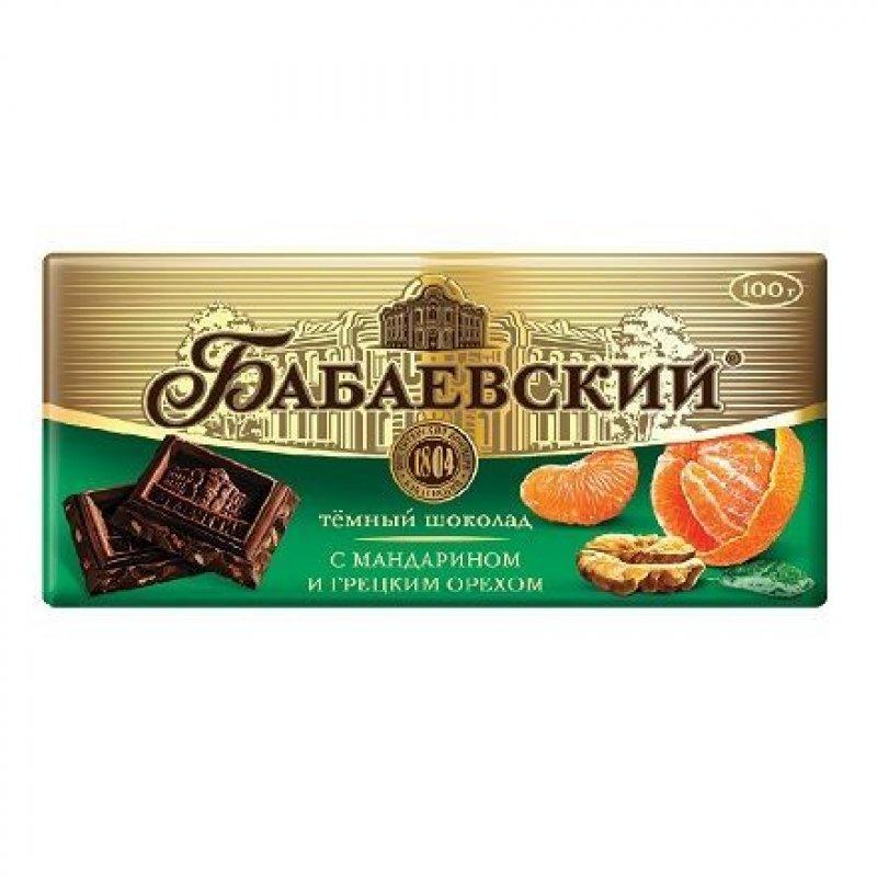 Шоколад Бабаевский с мандарином и грецким орехом 100г горький
