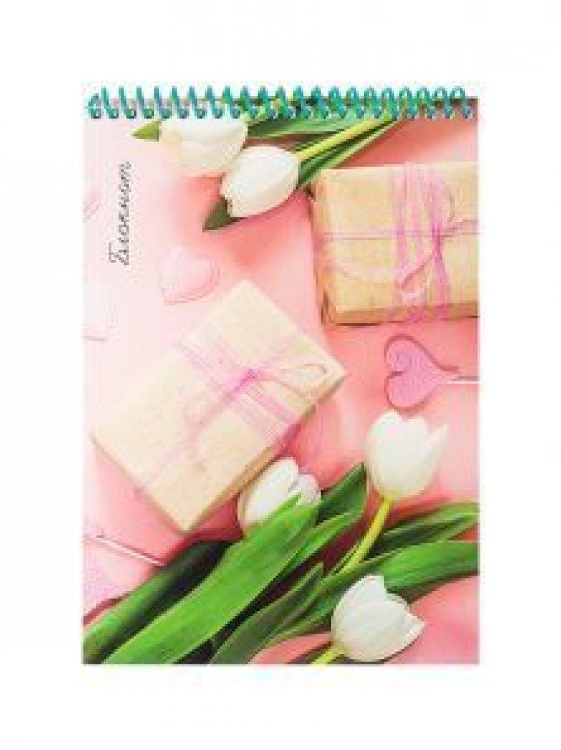 Блокнот А5 48л Белые тюльпаны спираль