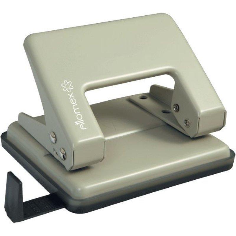 Дырокол 20л Attomex металлический корпус с линейкой серый