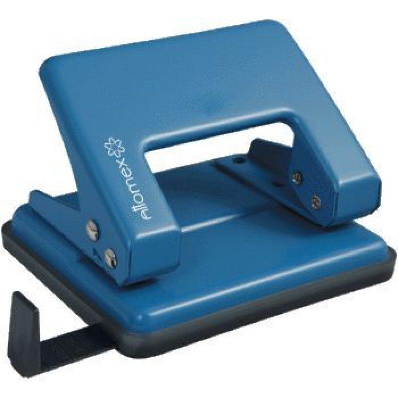 Дырокол 20л Attomex металлический корпус с линейкой синий