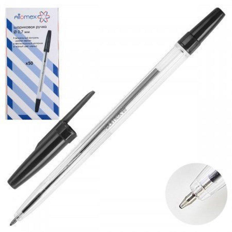 Ручка шариковая Attomex 0,7мм прозрачный корпус, черная