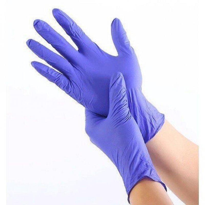 Перчатки нитриловые Фабрика текстурированные М синие 50 пар/уп
