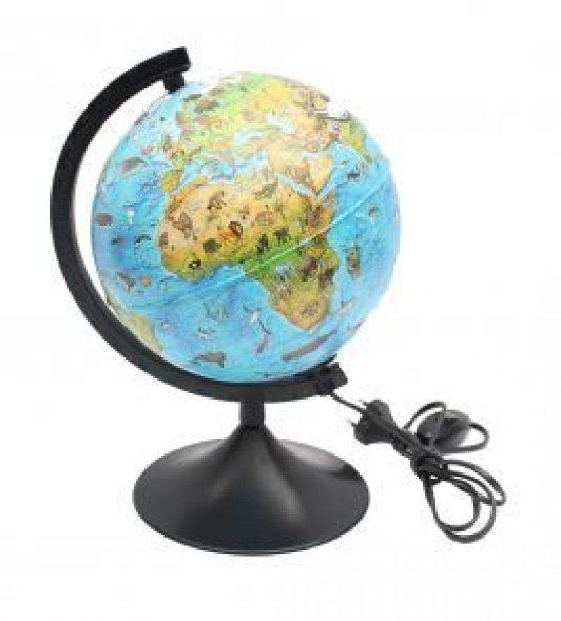 Глобус зоогеографический Детский D=21см на черной подставке с подсветкой