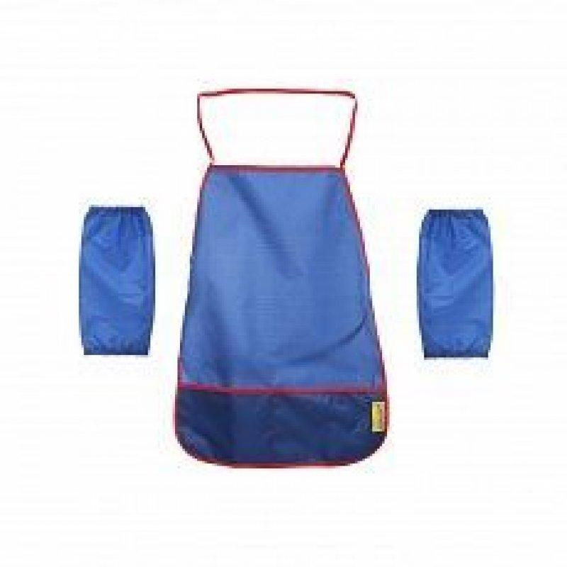 Фартук для труда с нарукавниками синий ткань 4-7 лет