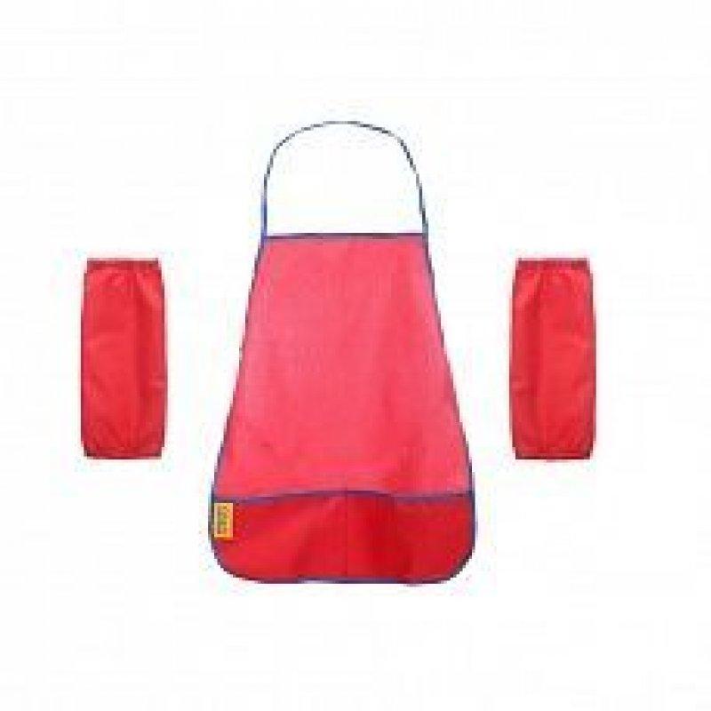 Фартук для труда с нарукавниками красный ткань 4-7 лет