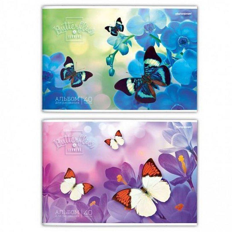 Альбом для рисования 40л Бабочки на цветах