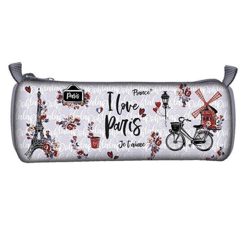 Пенал-тубус 1 секц  I LOVE PARIS 210х65 ткань с подкладом