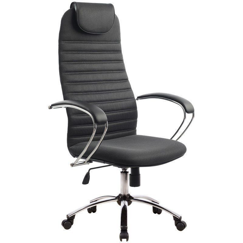 Кресло руководителя Метта BK-10CH с подлокотниками хром ткань черное