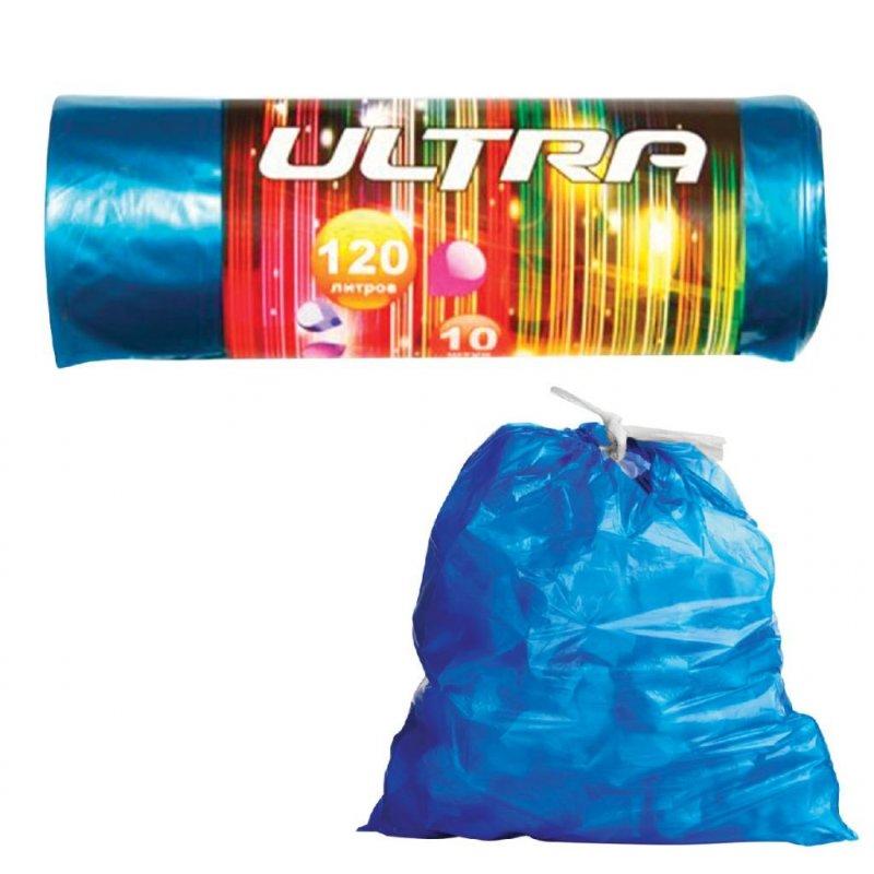 Мешки для мусора 120л 70х110см 30мкм 10шт/рул черные  с завязками ПВД