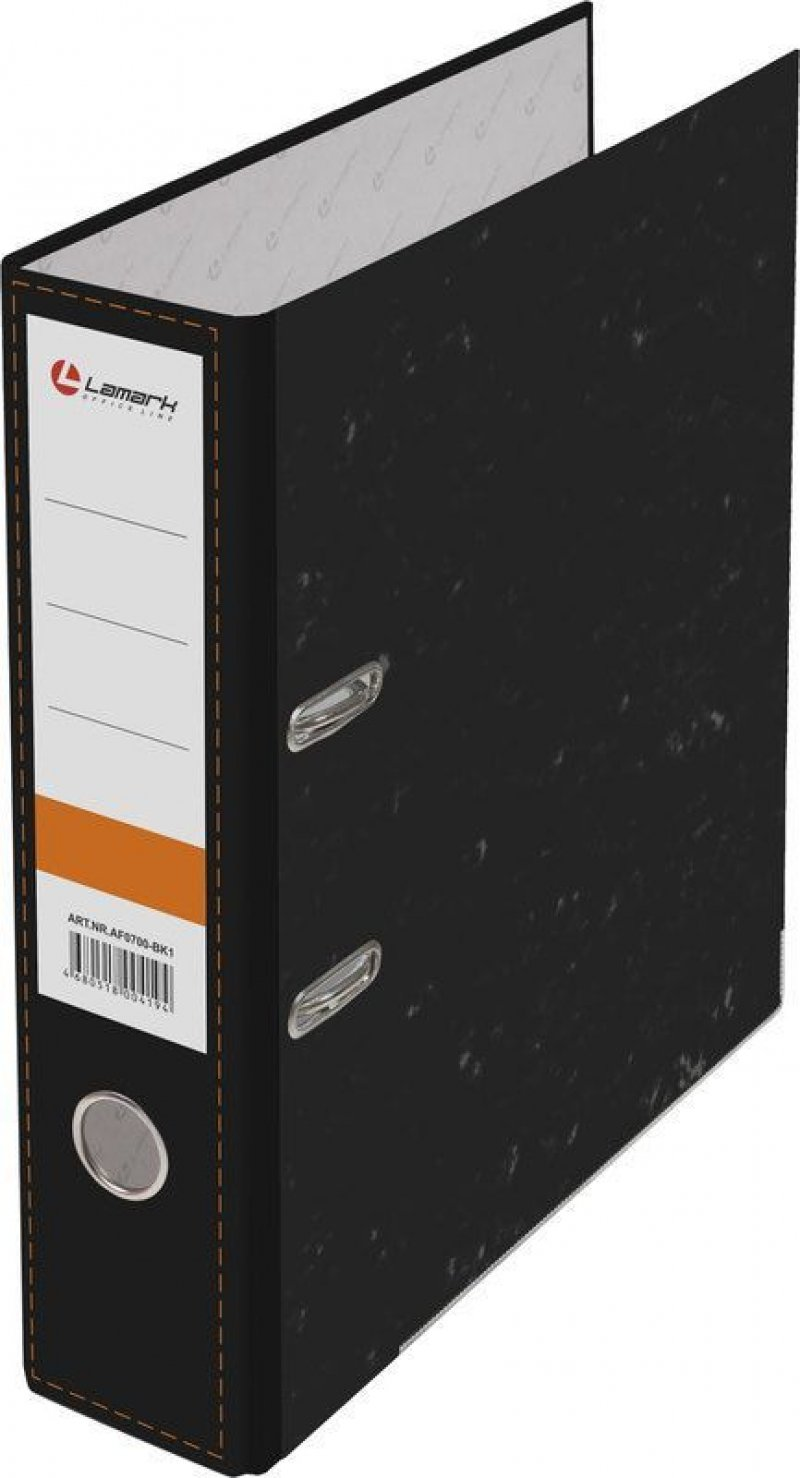 Папка-регистратор 75мм Lamark мрамор уголок черная