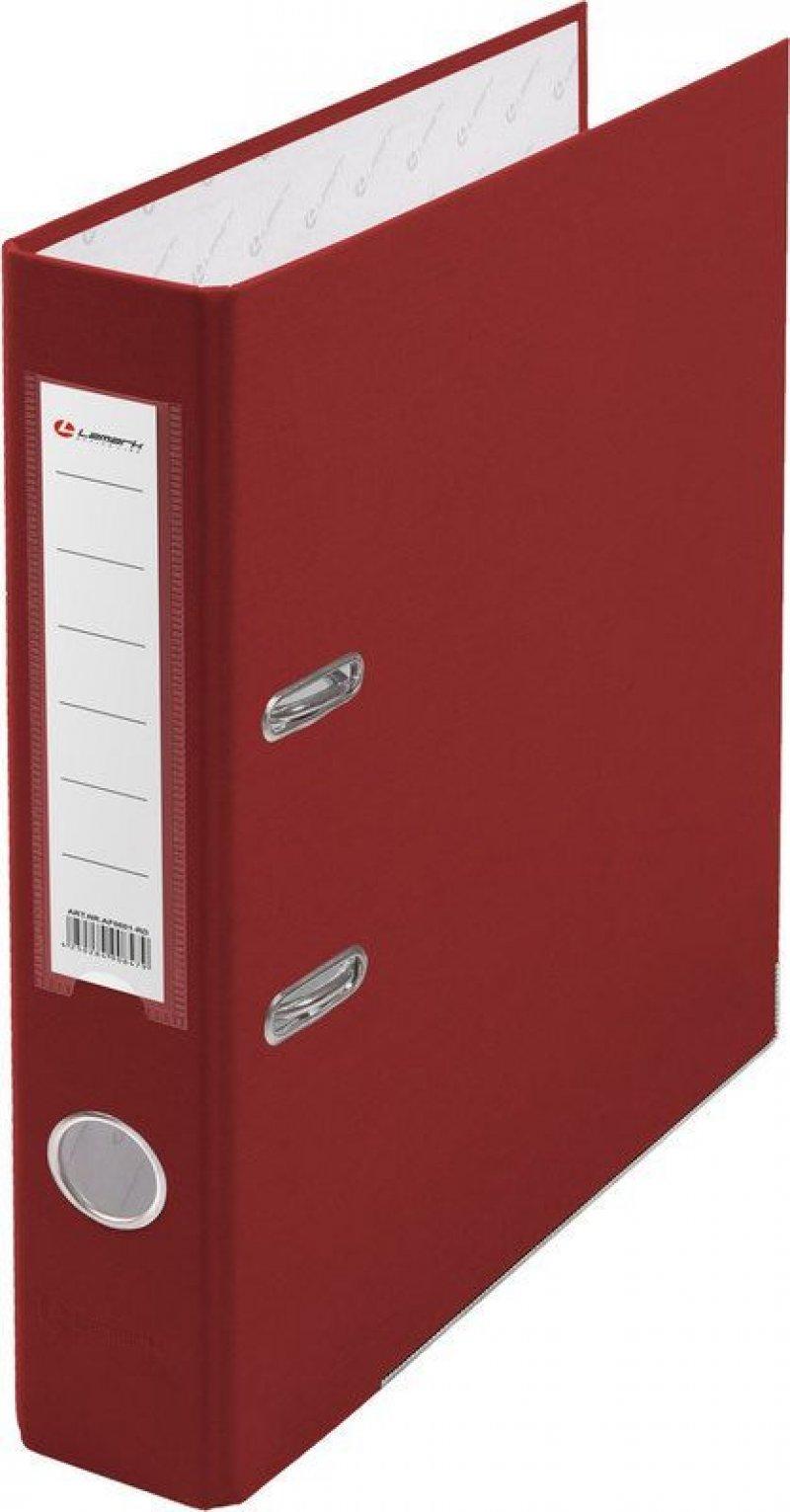 Папка-регистратор 50мм Lamark бумвинил карман красный металл