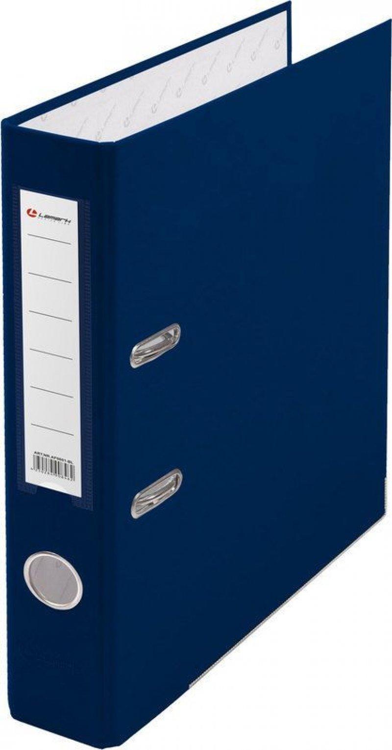 Папка-регистратор 50мм Lamark бумвинил карман синий металл