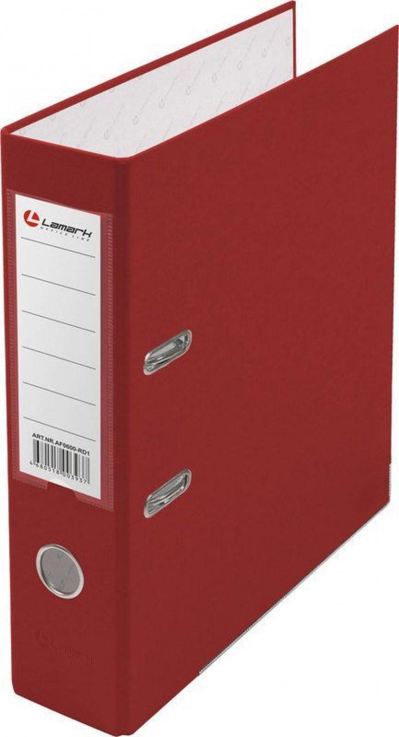 Папка-регистратор 80мм Lamark бумвинил карман красный металл