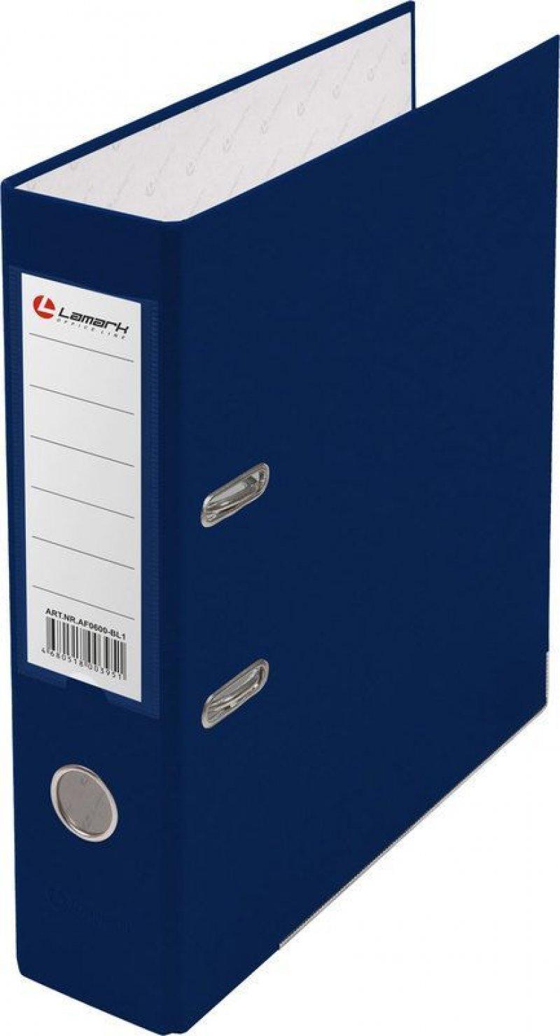 Папка-регистратор 80мм Lamark бумвинил карман синий металл
