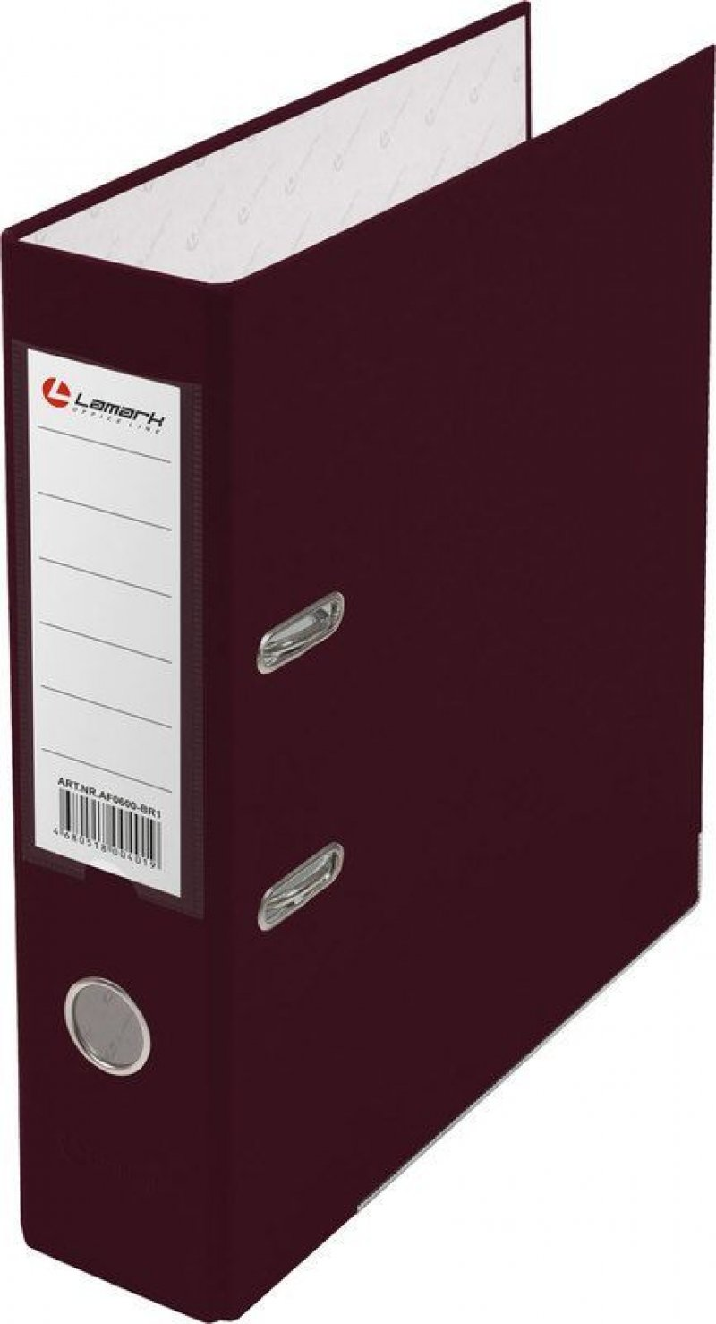 Папка-регистратор 80мм Lamark бумвинил карман бордовый металл