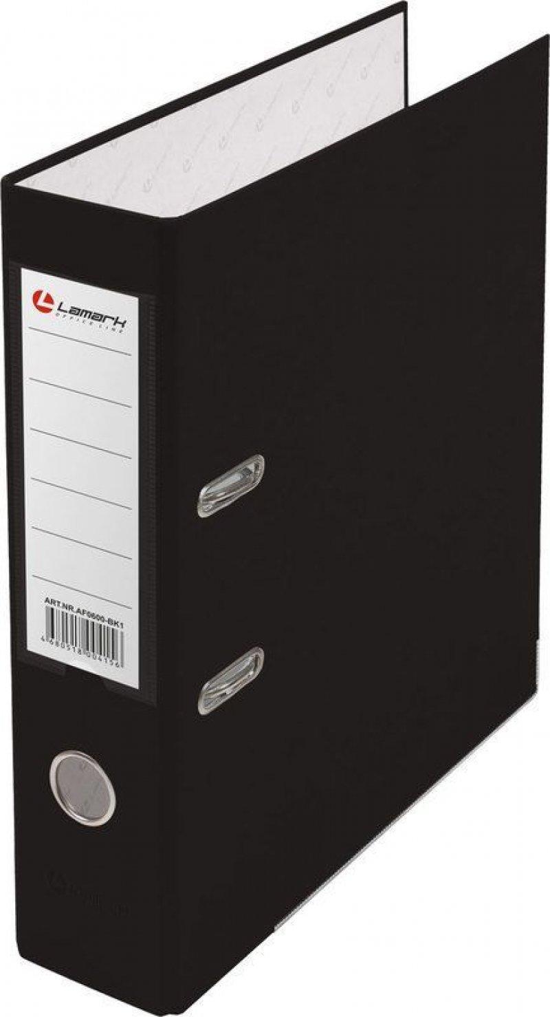 Папка-регистратор 80мм Lamark бумвинил карман черный металл