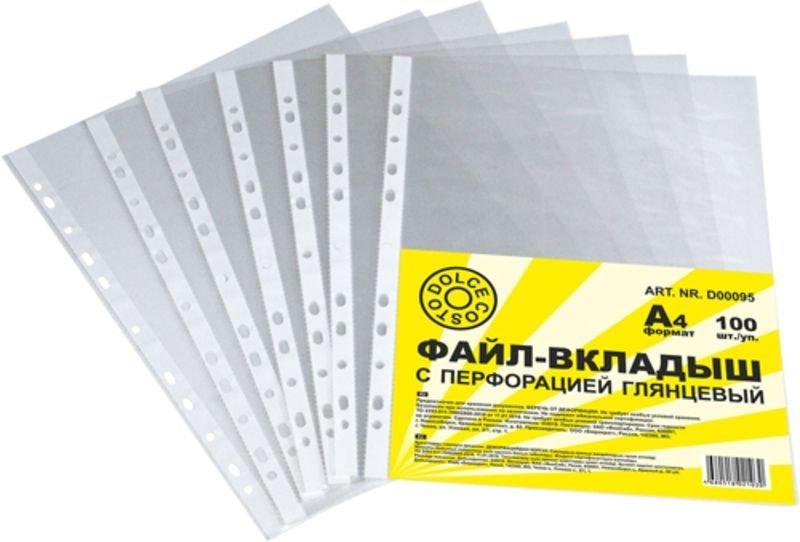 Папка-файл прозрачная с перфорацией А4 Dolce Costo100шт/уп 20мкм глянец